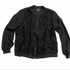 Michel Studio   Black Semi Lace Bomber